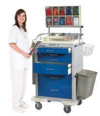 Classic 6-Drawer Anesthesia Carts with Push Button Lock, bigger drawer space